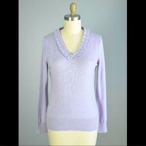 Brooks Brothers Merino Wool Purple V-Neck Sweater